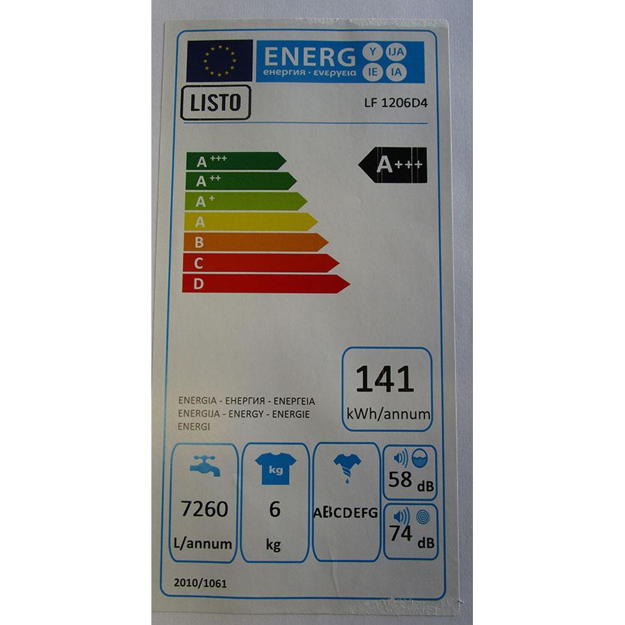 Listo LF1206 D4 - Étiquette énergie