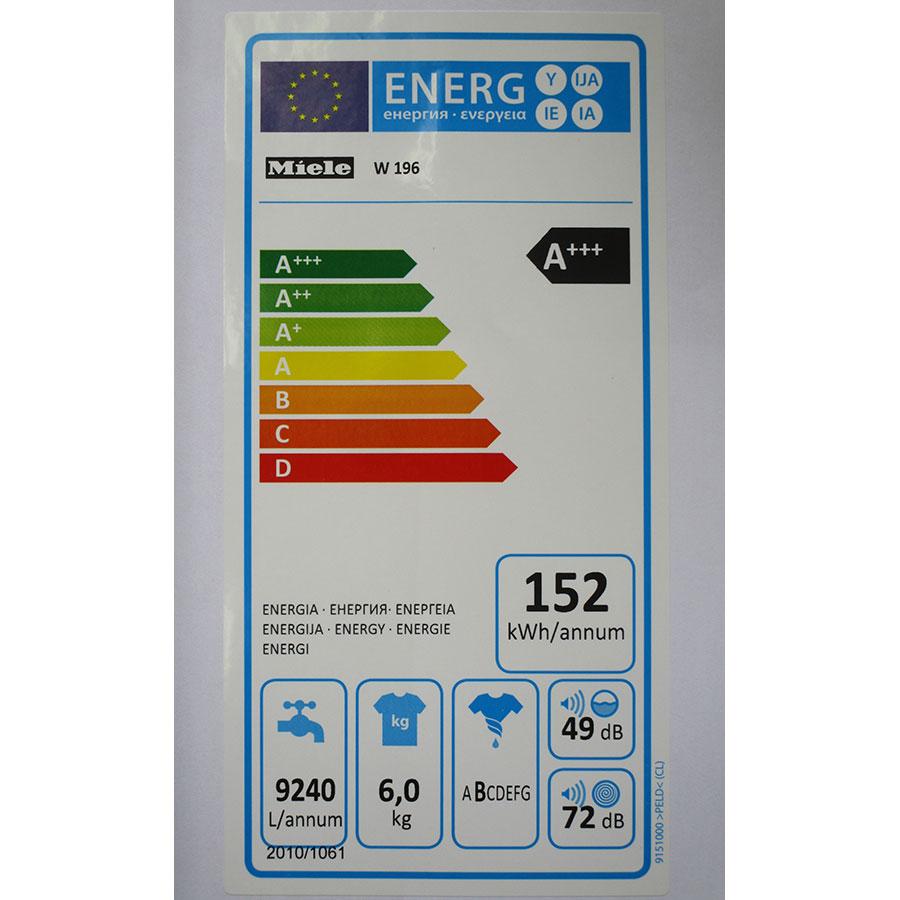Miele W196 - Étiquette énergie