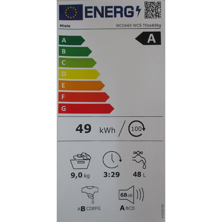Miele WCG 660 - Nouvelle étiquette énergie
