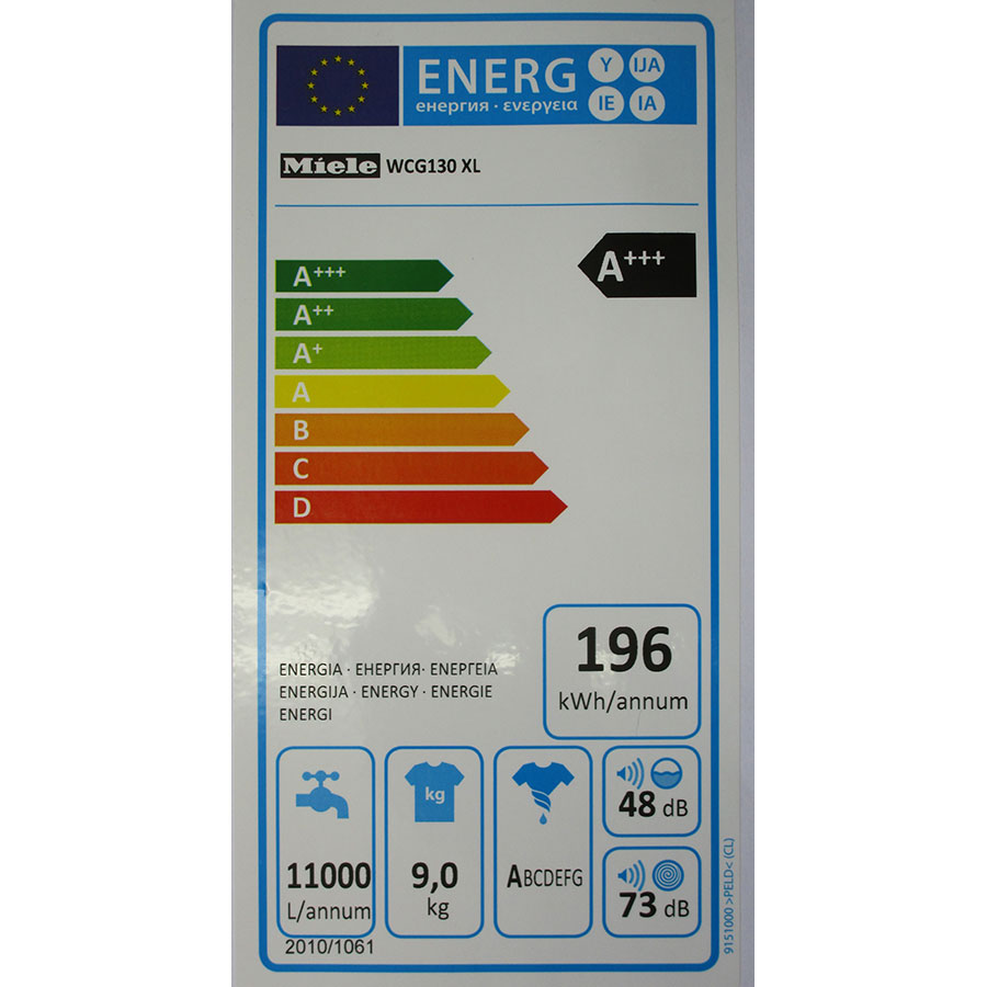 Miele WCG130 - Étiquette énergie