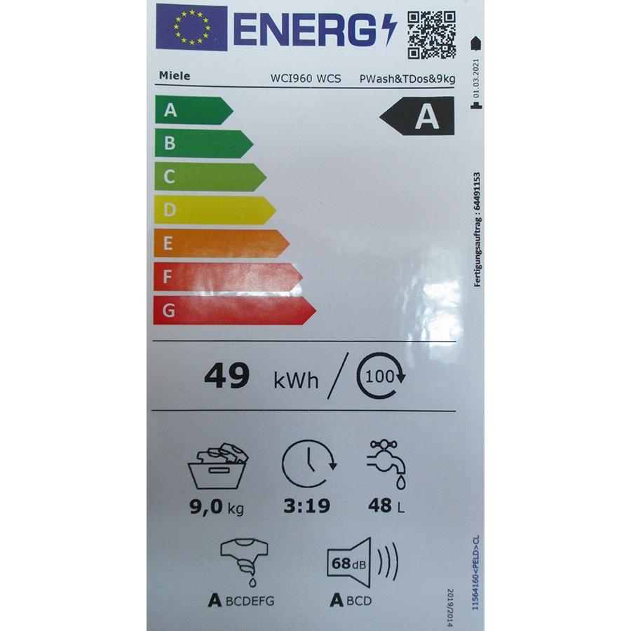 Miele WCI 960 WCS TwinDos - Nouvelle étiquette énergie
