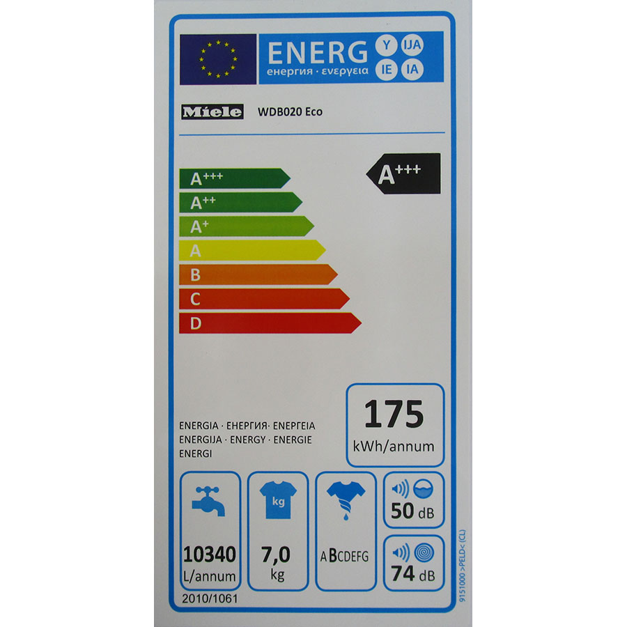 Miele WDB020(*38*) - Étiquette énergie