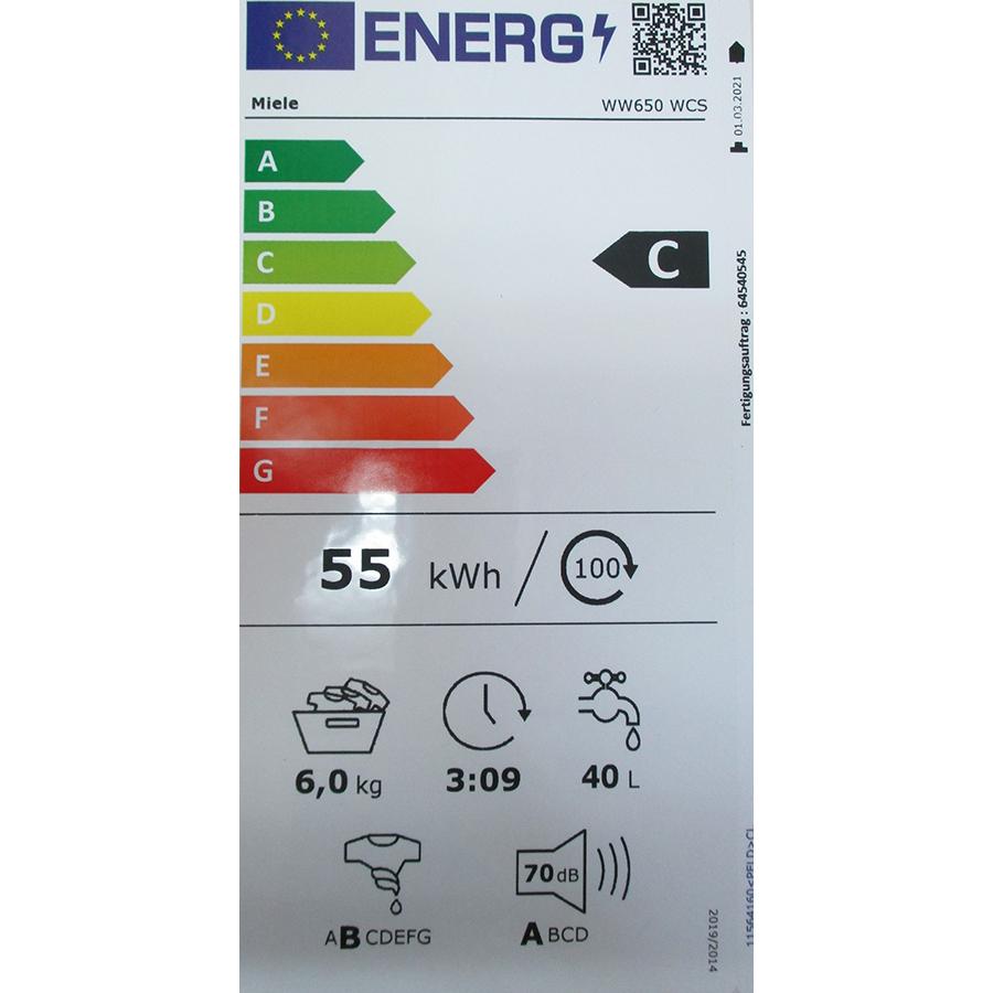 Miele WW650WCS - Nouvelle étiquette énergie