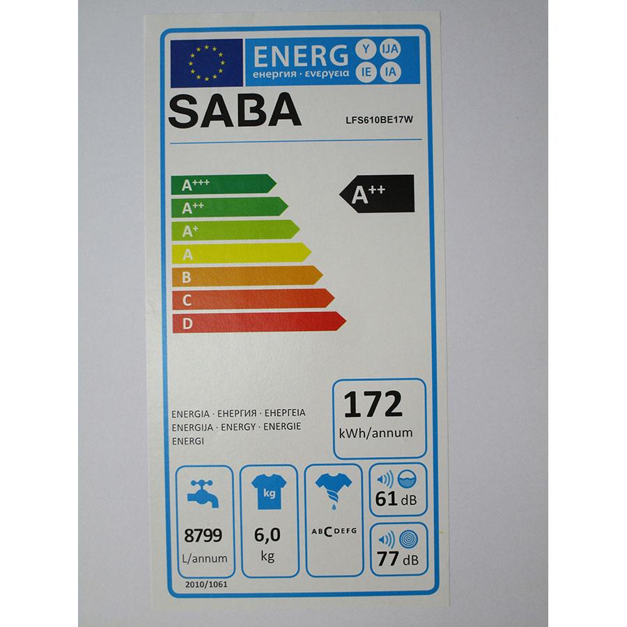 Saba (Conforama) LFS610BE17W - Étiquette énergie