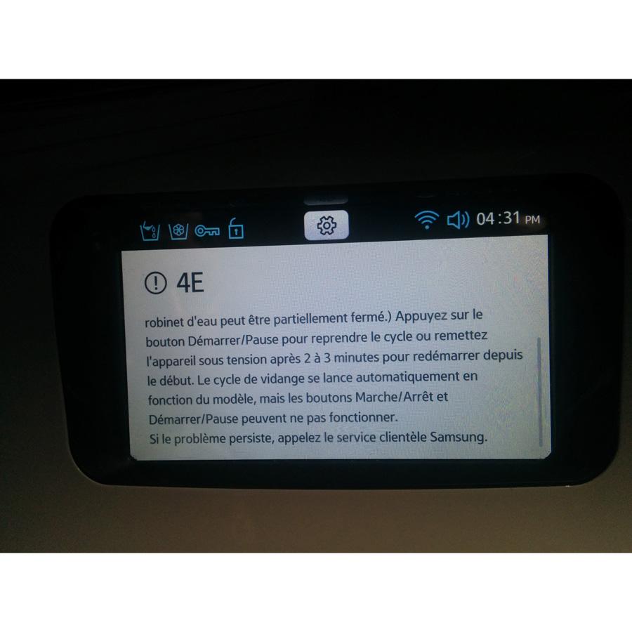 Samsung WW10H9400EW Crystal Blue WW9000 - Message d'erreur sur l'afficheur