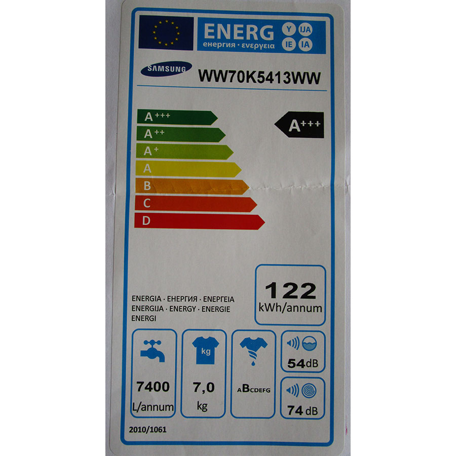 Samsung WW70K5413WW AddWash - Étiquette énergie