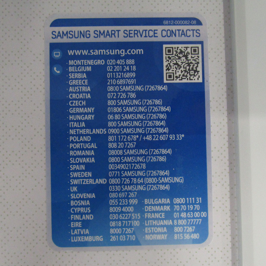Samsung WW80J3267KW - Autocollant service consommateurs