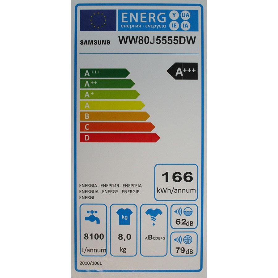 Samsung WW80J5555DW - Étiquette énergie