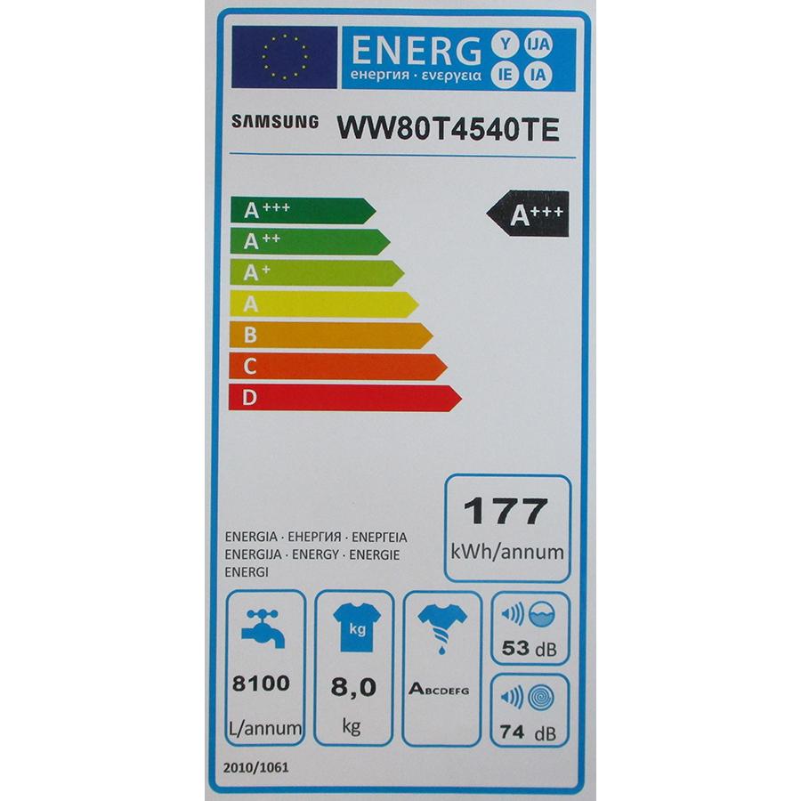 Samsung WW80T4540TE - Étiquette énergie
