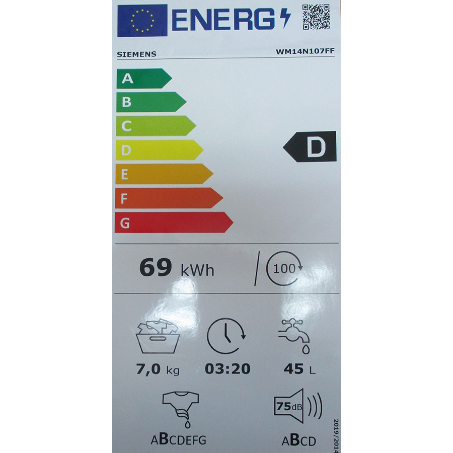 Siemens WM14N107FF - Nouvelle étiquette énergie