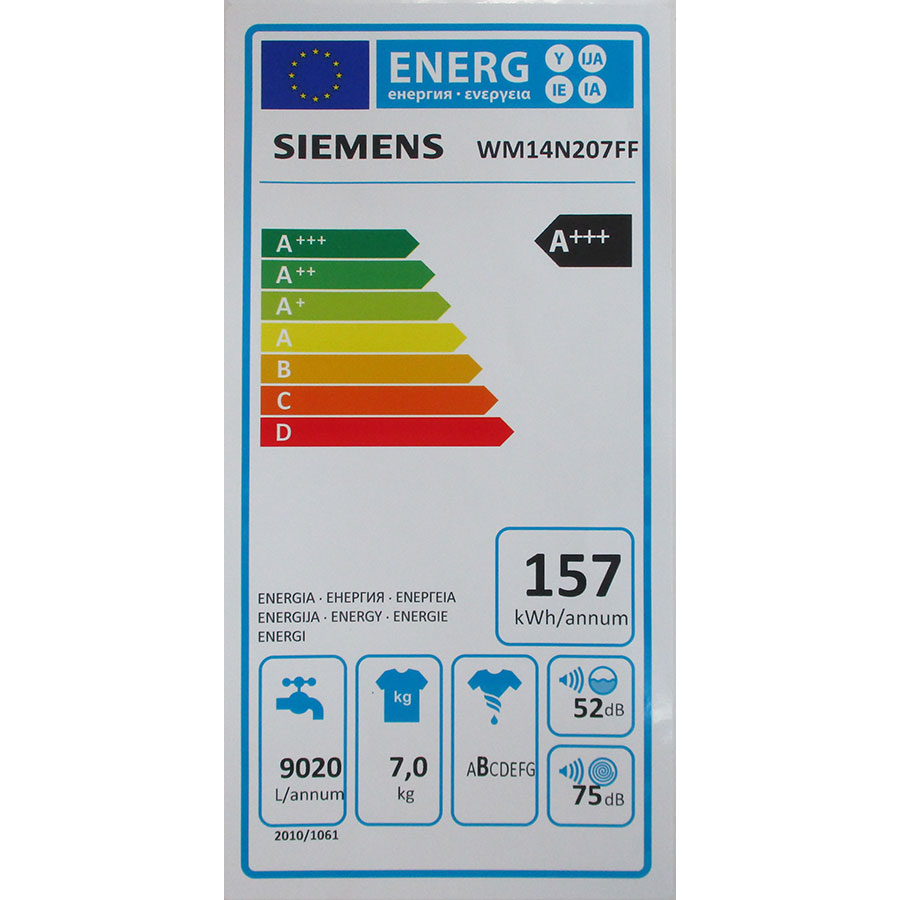 Siemens WM14N207FF - Étiquette énergie