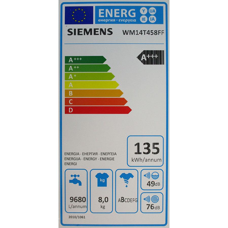 Siemens WM14T458FF - Étiquette énergie