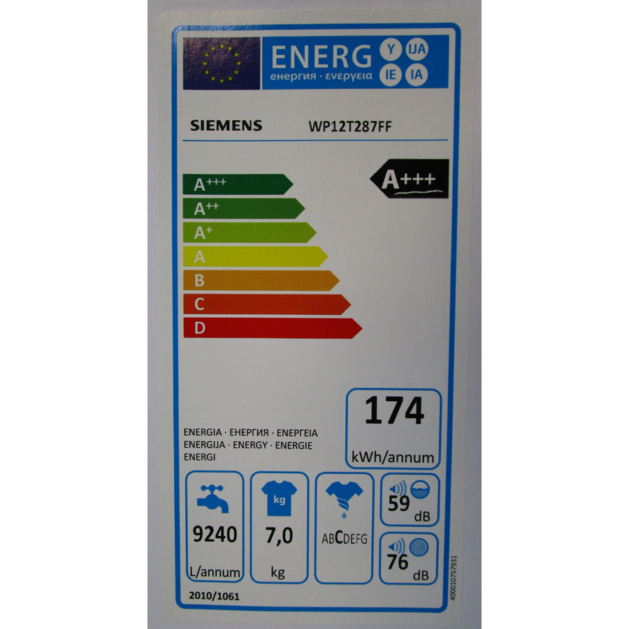 Siemens WP12T287FF - Étiquette énergie