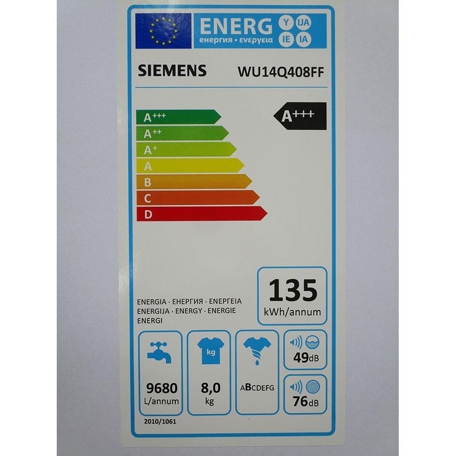 Siemens WU14Q408FF - Étiquette énergie