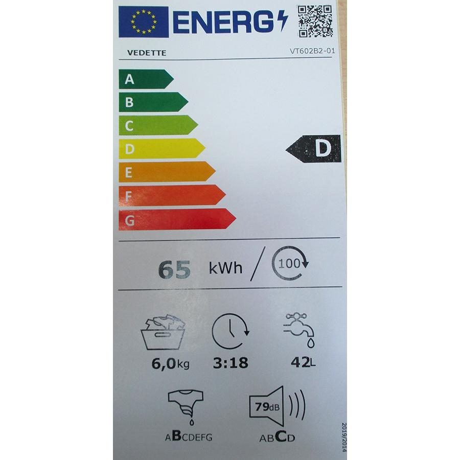 Vedette VT602B2 - Nouvelle étiquette énergie
