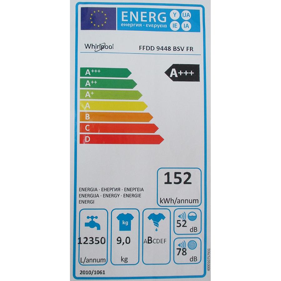 Whirlpool FFDD9448BSVFR - Étiquette énergie