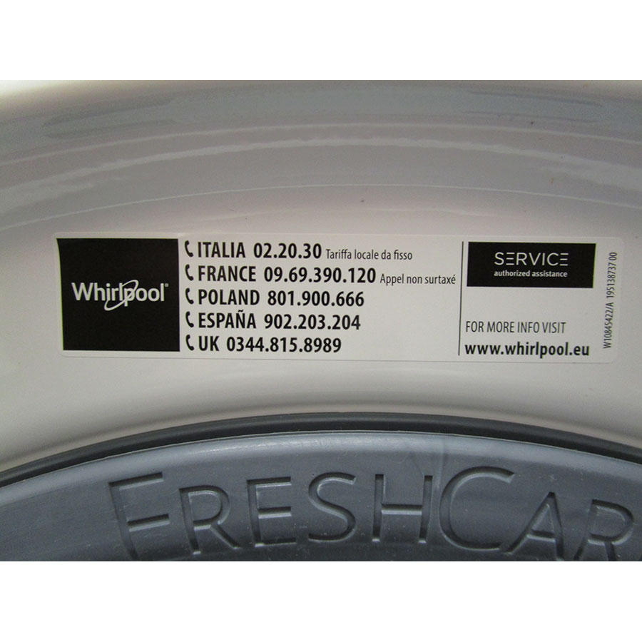 Whirlpool FWFP91483 W FR FreshCare - Autocollant service consommateurs