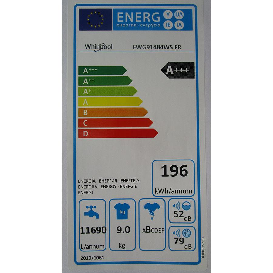 Whirlpool FWG91484WS FR - Étiquette énergie