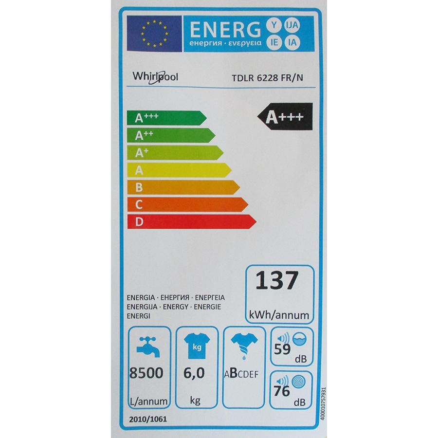 Whirlpool TDLR6228FR/N - Étiquette énergie