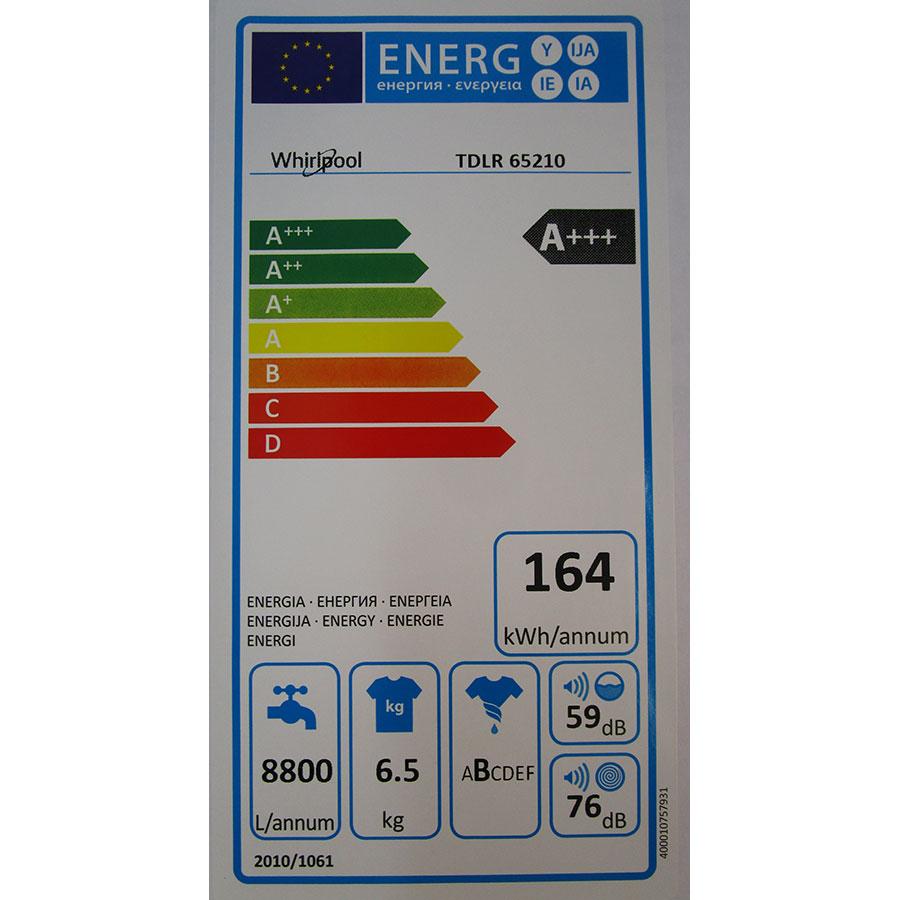 Whirlpool TDLR65210(*10*) - Étiquette énergie