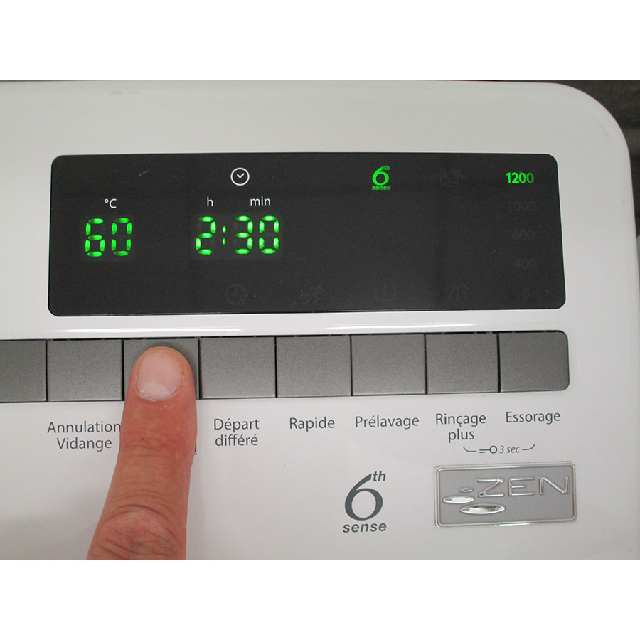 Whirlpool TDLR65230 - Afficheur et touches d'options