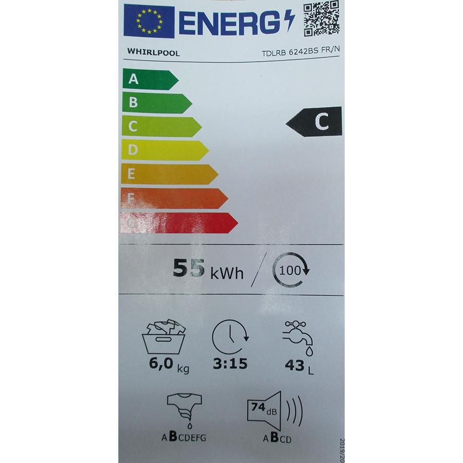 Whirlpool TDLRB6242BSFR/N - Nouvelle étiquette énergie