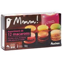 Auchan Mmm Assortiment de 12 macarons (chocolat, citron, framboise, pistache…)