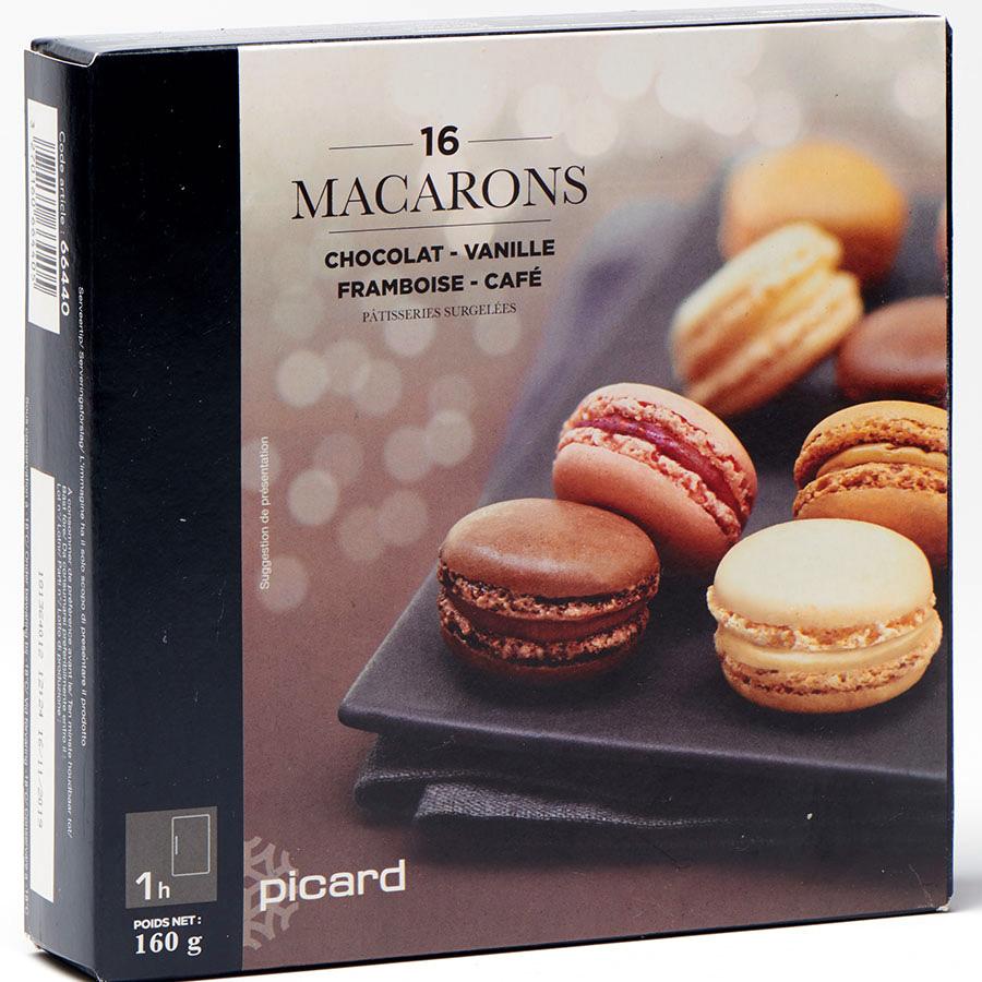 Picard 16 macarons (chocolat, vanille, framboise, café) (*1*) -