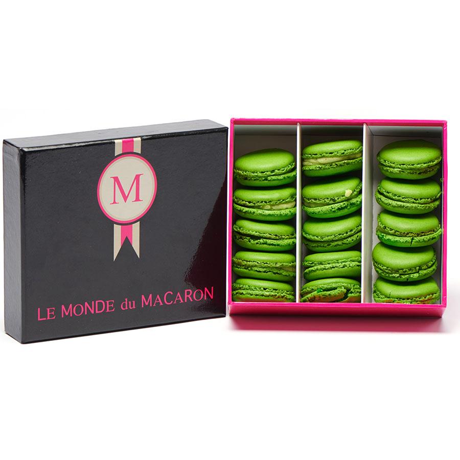 Le Monde du Macaron Boîte de 15 macarons pistache -