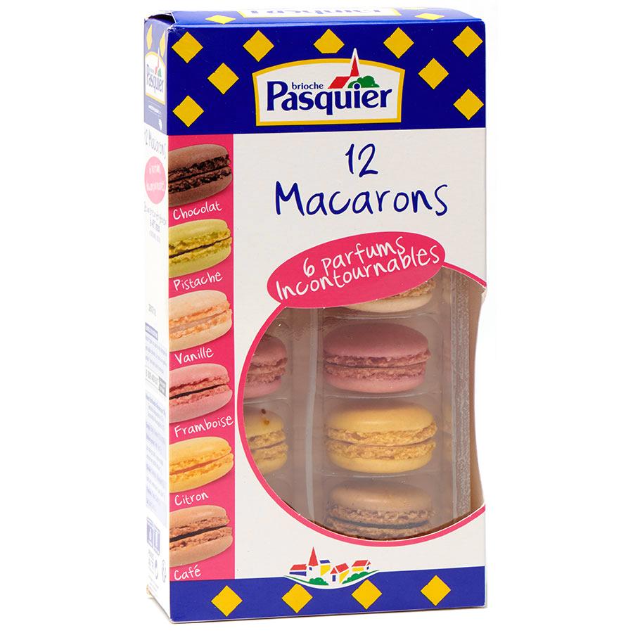 Pasquier 12 macarons (chocolat, pistache, vanille, framboise, citron, café) -