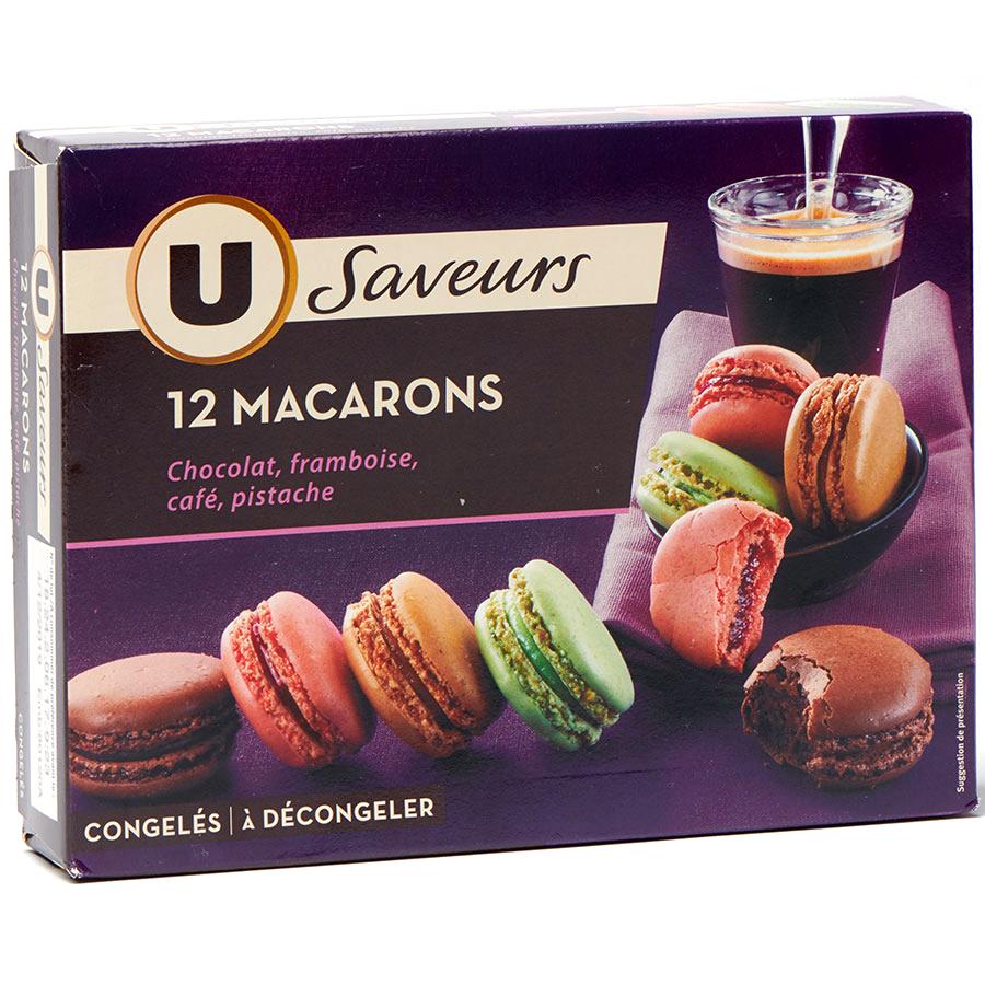 U Saveurs 12 macarons (chocolat, framboise, café, pistache) -