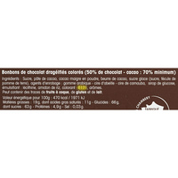 Cémoi Dragées au chocolat noir 70% cacao - Cible de l'analyse surlignée dans la liste des ingrédients