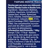 Hollywood Chewing-gum 2Fresh menthe fraîche/menthe forte - Cible de l'analyse surlignée dans la liste des ingrédients