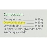 Titanoréïne Suppositoires - Cible de l'analyse surlignée dans la liste des ingrédients