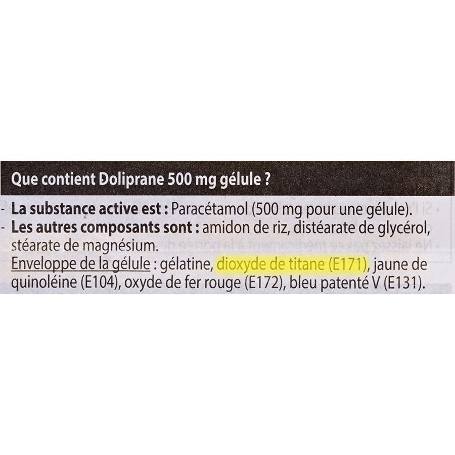Doliprane 500 mg gélules - Cible de l'analyse surlignée dans la liste des ingrédients