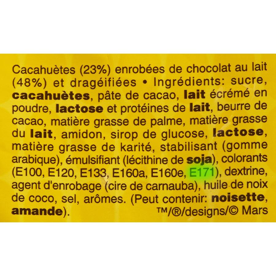 M&M's Peanut - Cible de l'analyse surlignée dans la liste des ingrédients