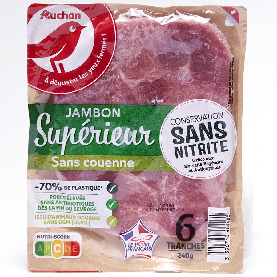 Auchan Jambon Supérieur - sans couenne - conservation sans nitrite -