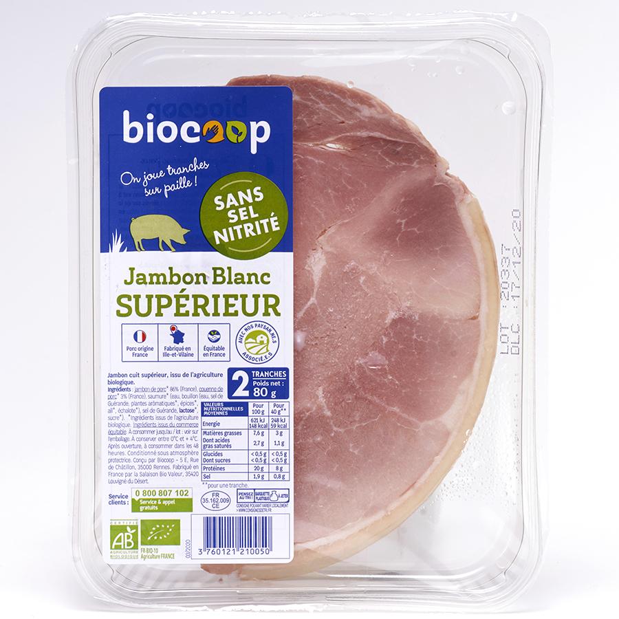 Biocoop Jambon blanc Supérieur sans sel nitrité -