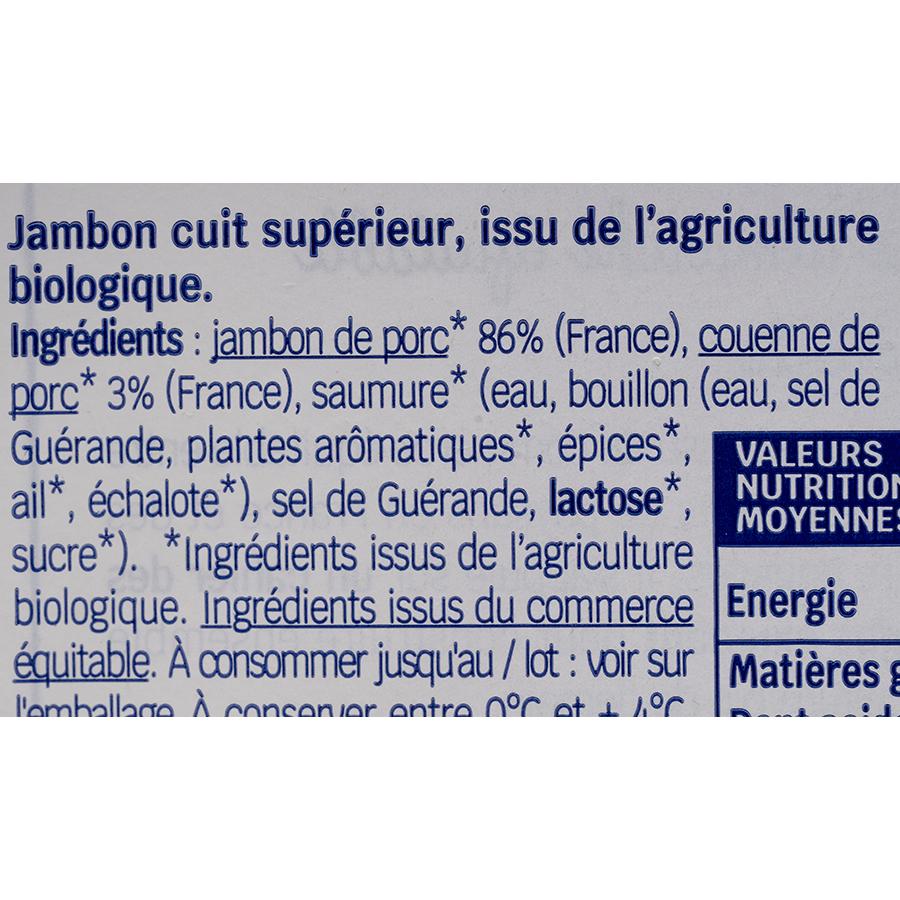Biocoop Jambon blanc Supérieur sans sel nitrité - Liste des ingrédients