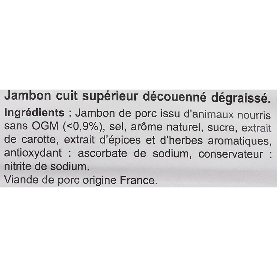Carrefour extra Le supérieur cuit à l'étouffé - Liste des ingrédients