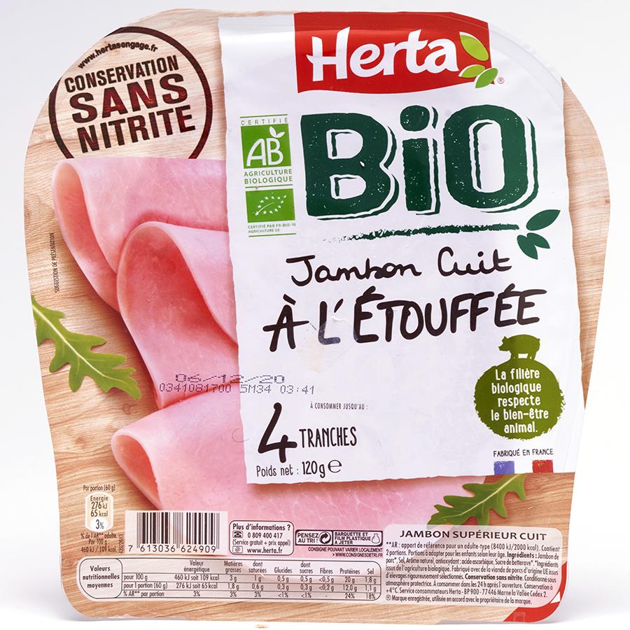 Herta Jambon cuit à l'étouffée Bio - conservation sans nitrite -