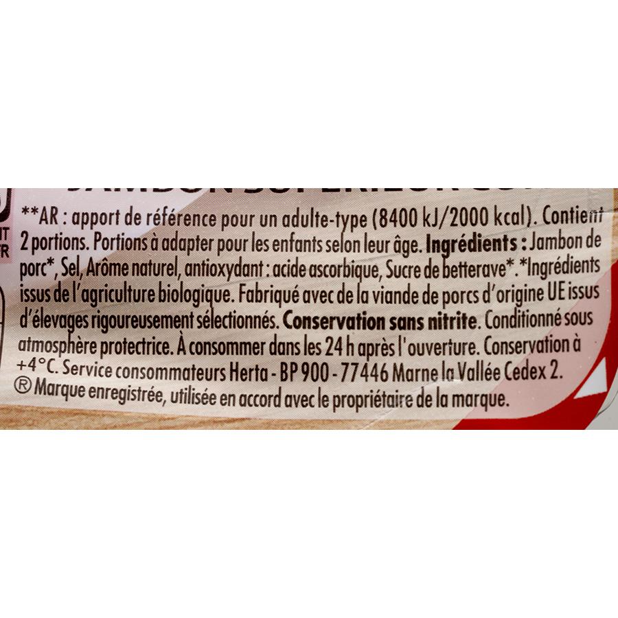 Herta Jambon cuit à l'étouffée Bio - conservation sans nitrite - Liste des ingrédients