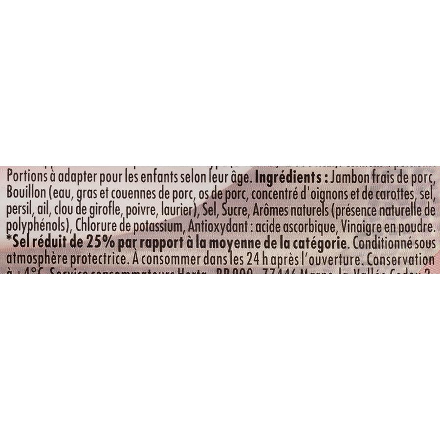 Herta Le Bon Paris - 25% de sel - conservation sans nitrite - Liste des ingrédients