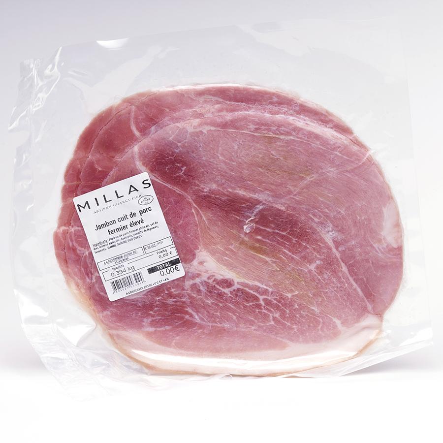 Millas Jambon cuit de porc fermier élevé (en plein air sans ajout de sel nitrité) -