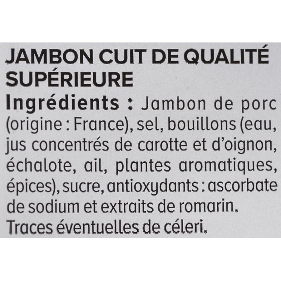 U  Le supérieur sans couenne zéro nitrite - Liste des ingrédients
