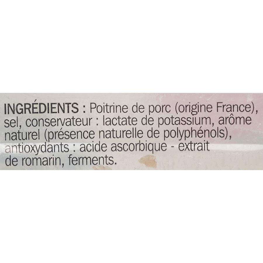 Tradilège (Marque repère) Lardons nature conservation sans nitrite - Liste des ingrédients