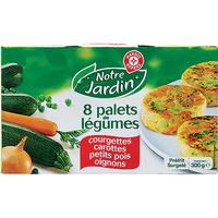Notre Jardin (Marque repère Leclerc)  Palets de légumes – Courgettes, carottes, petits pois, oignons