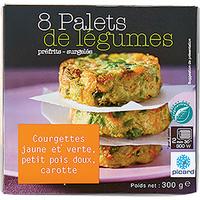 Picard Palets de légumes – Courgettes jaune et verte, petits pois doux, carotte