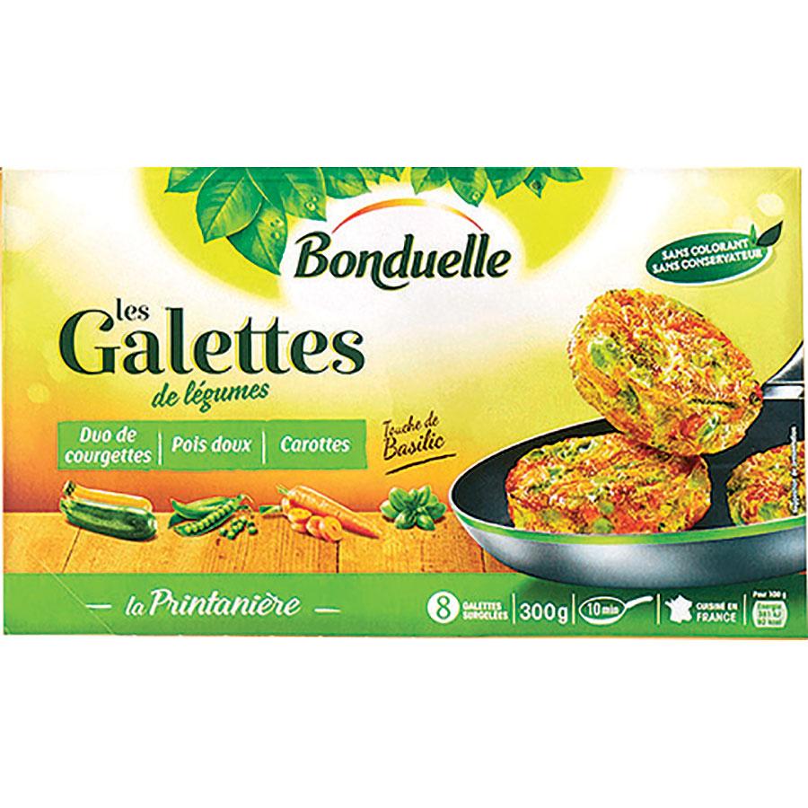 Bonduelle Les galettes de légumes – Duo de courgettes, pois doux, carottes – La printanière -