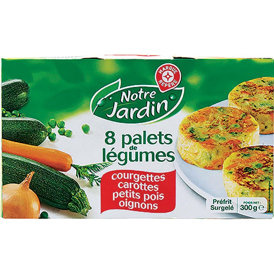 Notre Jardin (Marque repère Leclerc)  Palets de légumes – Courgettes, carottes, petits pois, oignons -